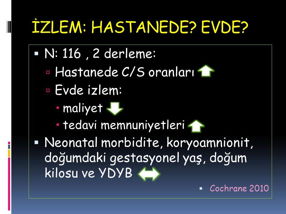 İZLEM: HASTANEDE EVDE N: 116 , 2 derleme: Hastanede C/S oranları