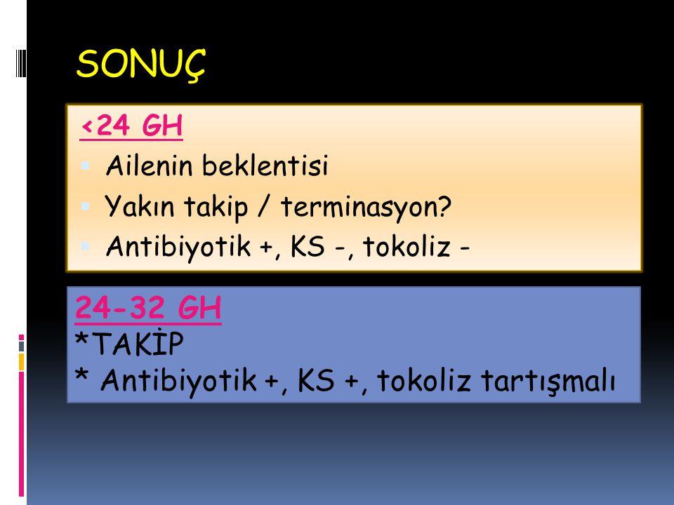 SONUÇ 24-32 GH *TAKİP * Antibiyotik +, KS +, tokoliz tartışmalı