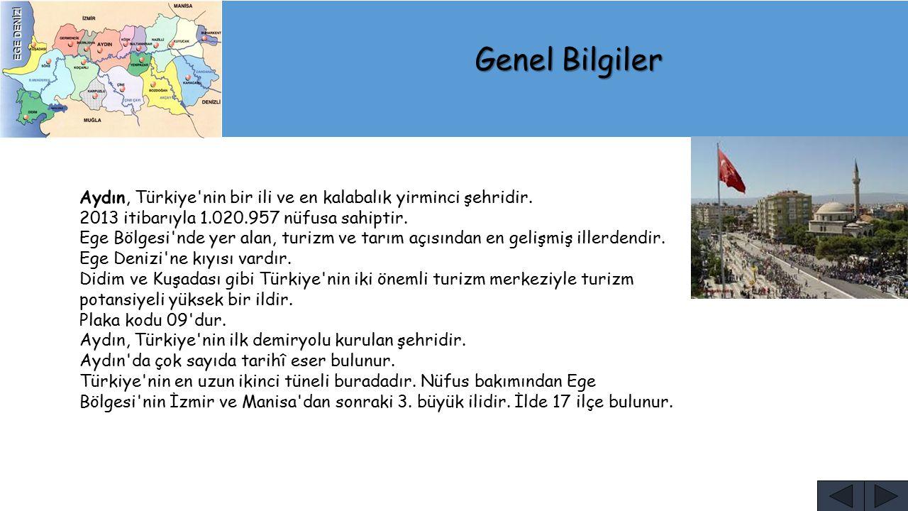 Genel Bilgiler Aydın, Türkiye nin bir ili ve en kalabalık yirminci şehridir. 2013 itibarıyla 1.020.957 nüfusa sahiptir.