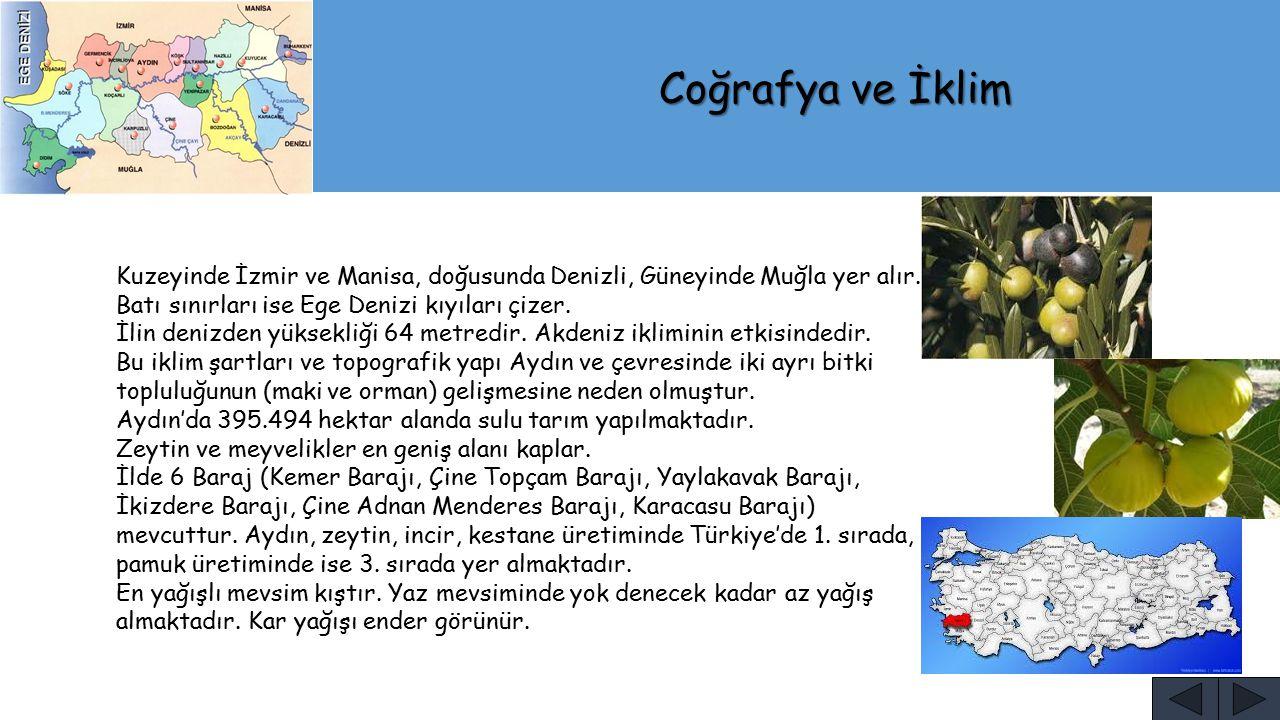 Coğrafya ve İklim Kuzeyinde İzmir ve Manisa, doğusunda Denizli, Güneyinde Muğla yer alır. Batı sınırları ise Ege Denizi kıyıları çizer.