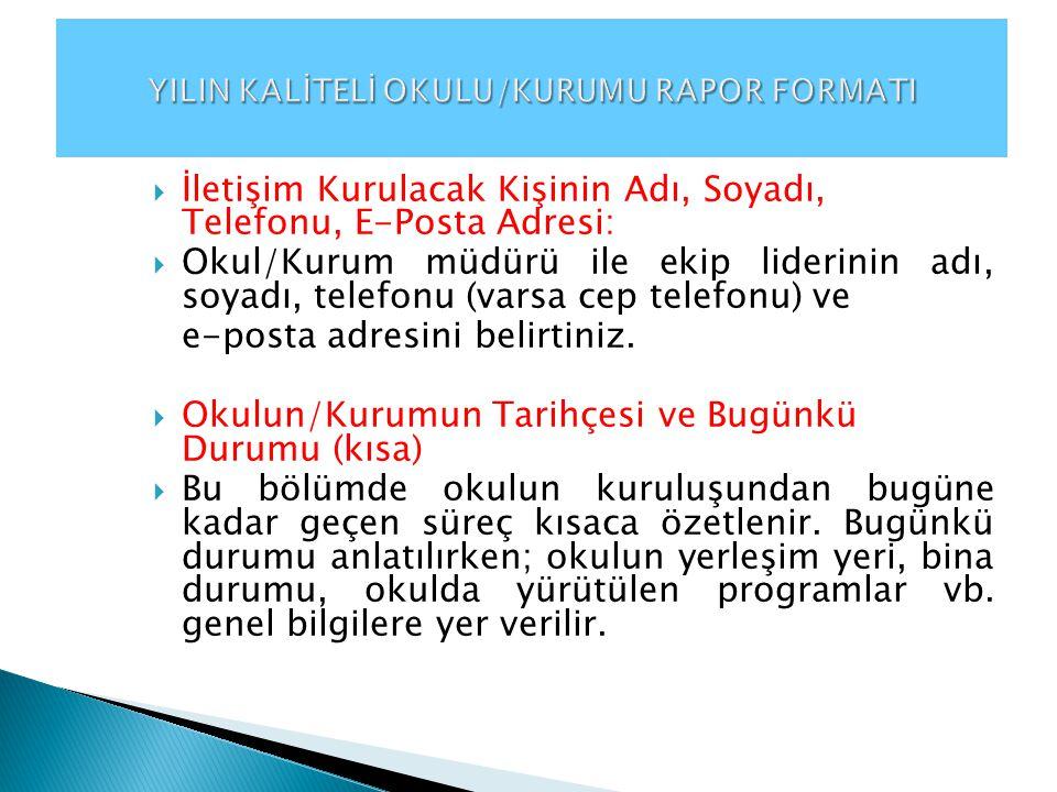 YILIN KALİTELİ OKULU/KURUMU RAPOR FORMATI