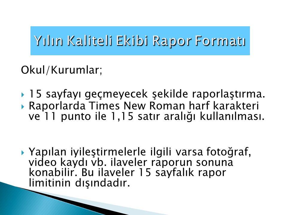 Yılın Kaliteli Ekibi Rapor Formatı