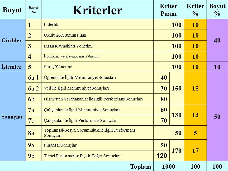 Kriterler Boyut Kriter Puanı Kriter% Boyut % 1 100 10 40 2 3 4 5 6a.1