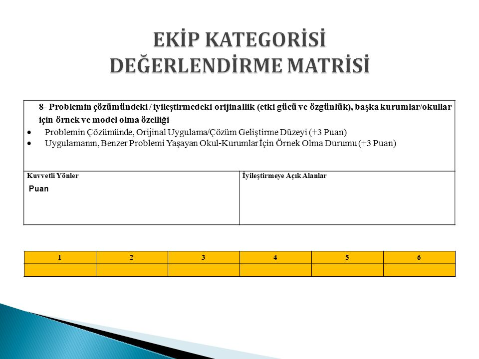 EKİP KATEGORİSİ DEĞERLENDİRME MATRİSİ