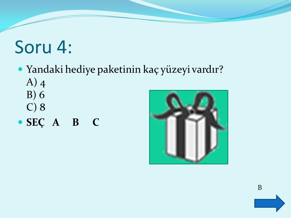 Soru 4: Yandaki hediye paketinin kaç yüzeyi vardır A) 4 B) 6 C) 8