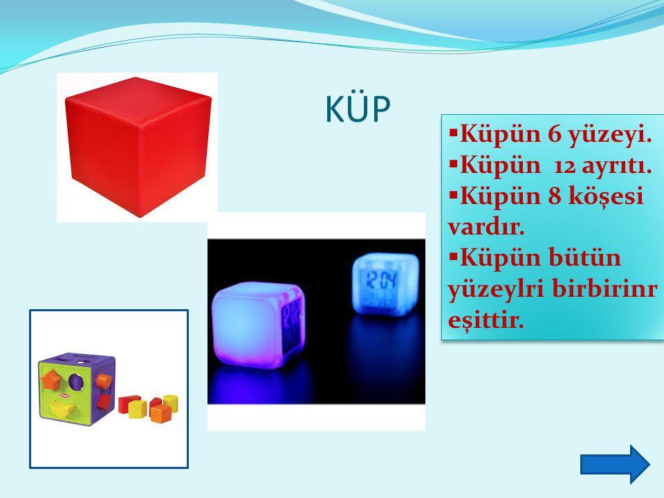 KÜP Küpün 6 yüzeyi. Küpün 12 ayrıtı. Küpün 8 köşesi vardır.