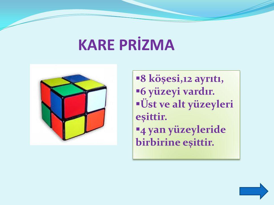KARE PRİZMA 8 köşesi,12 ayrıtı, 6 yüzeyi vardır.