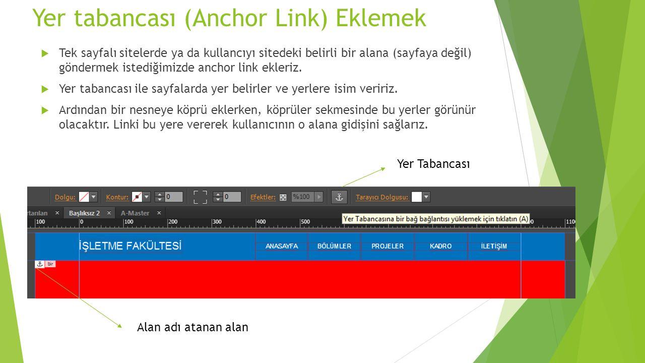 Yer tabancası (Anchor Link) Eklemek