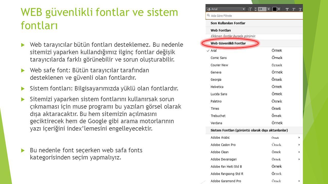 WEB güvenlikli fontlar ve sistem fontları