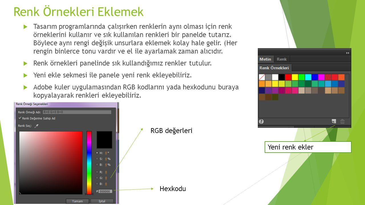 Renk Örnekleri Eklemek