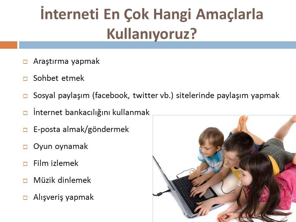 İnterneti En Çok Hangi Amaçlarla Kullanıyoruz