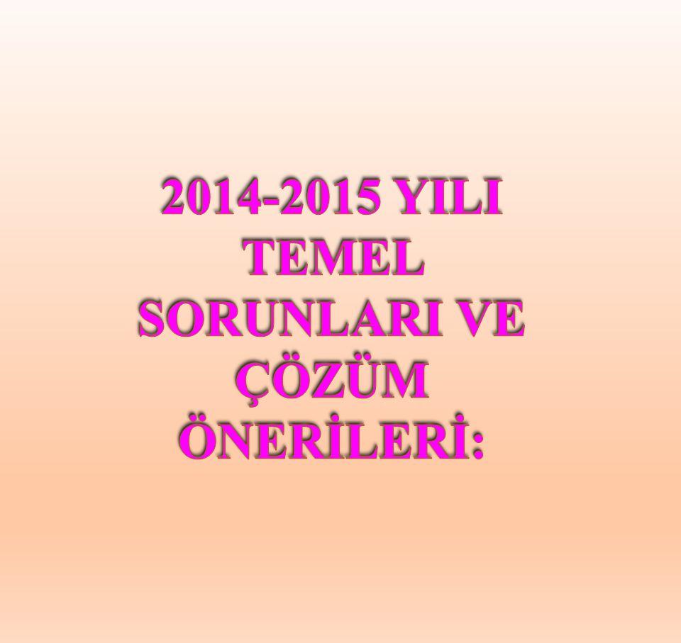 2014-2015 YILI TEMEL SORUNLARI VE ÇÖZÜM ÖNERİLERİ: