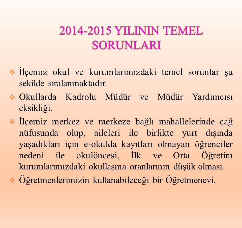 2014-2015 YILININ TEMEL SORUNLARI