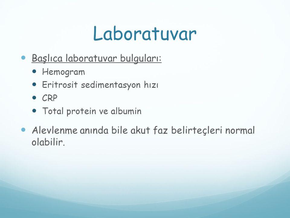 Laboratuvar Başlıca laboratuvar bulguları: