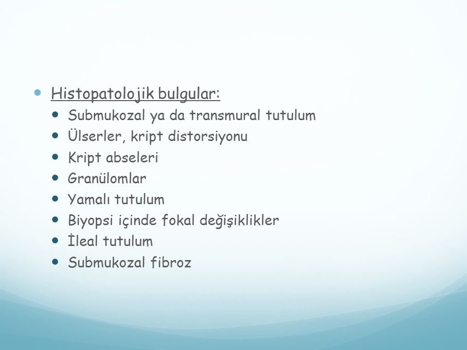 Histopatolojik bulgular: