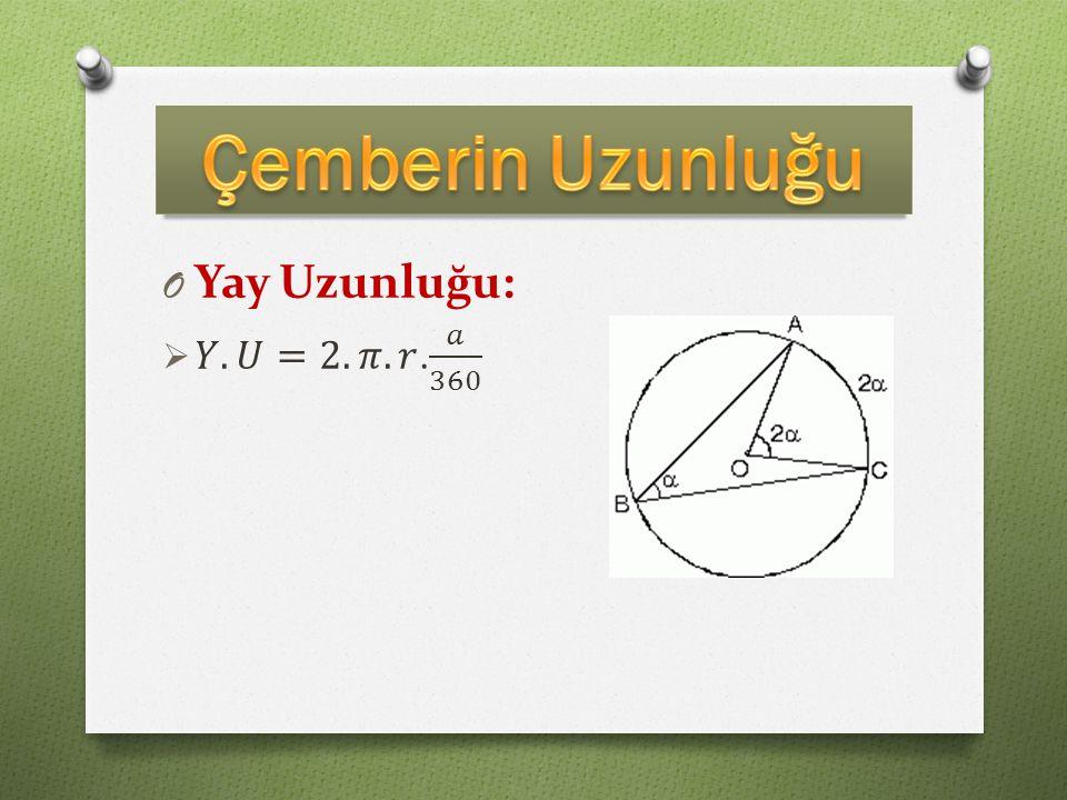 Çemberin Uzunluğu Yay Uzunluğu: 𝑌.𝑈=2.𝜋.𝑟. 𝑎 360