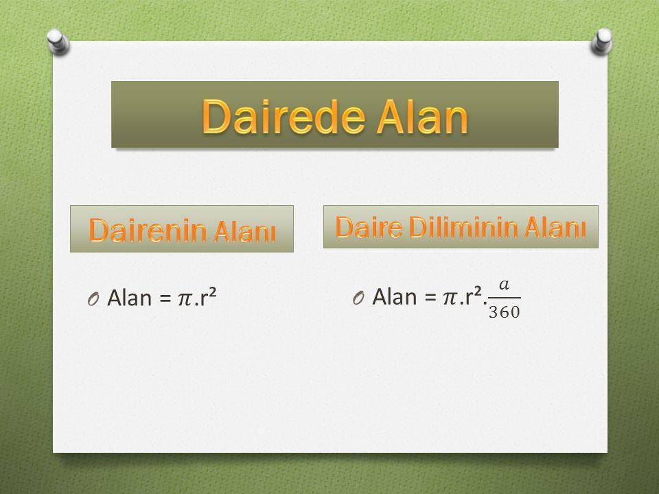 Dairede Alan Dairenin Alanı Daire Diliminin Alanı Alan = 𝜋.r². 𝑎 360