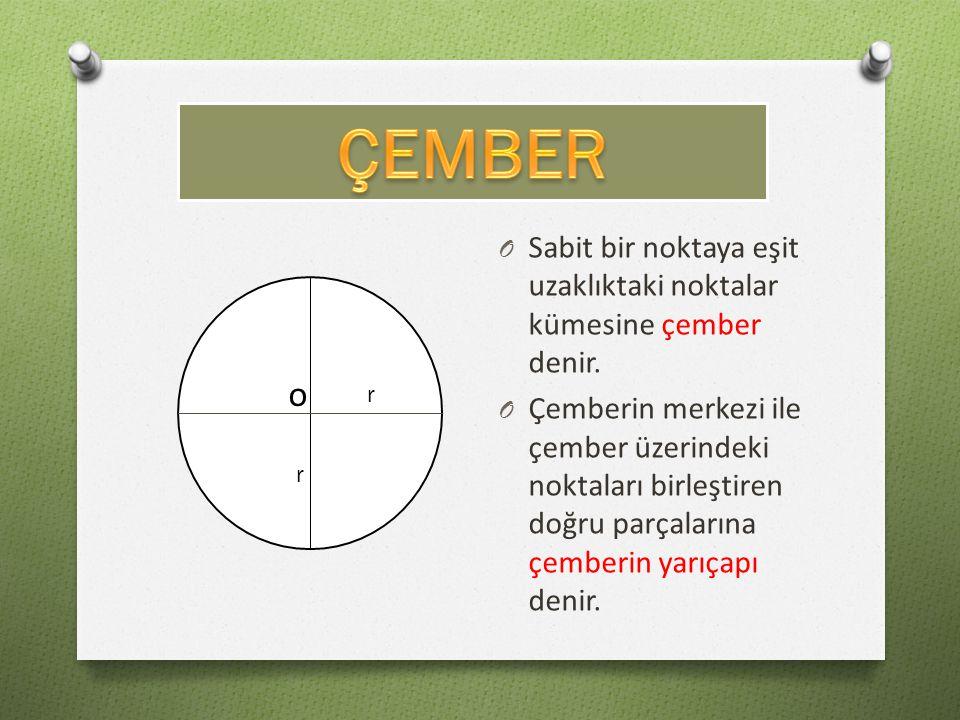 ÇEMBER Sabit bir noktaya eşit uzaklıktaki noktalar kümesine çember denir.