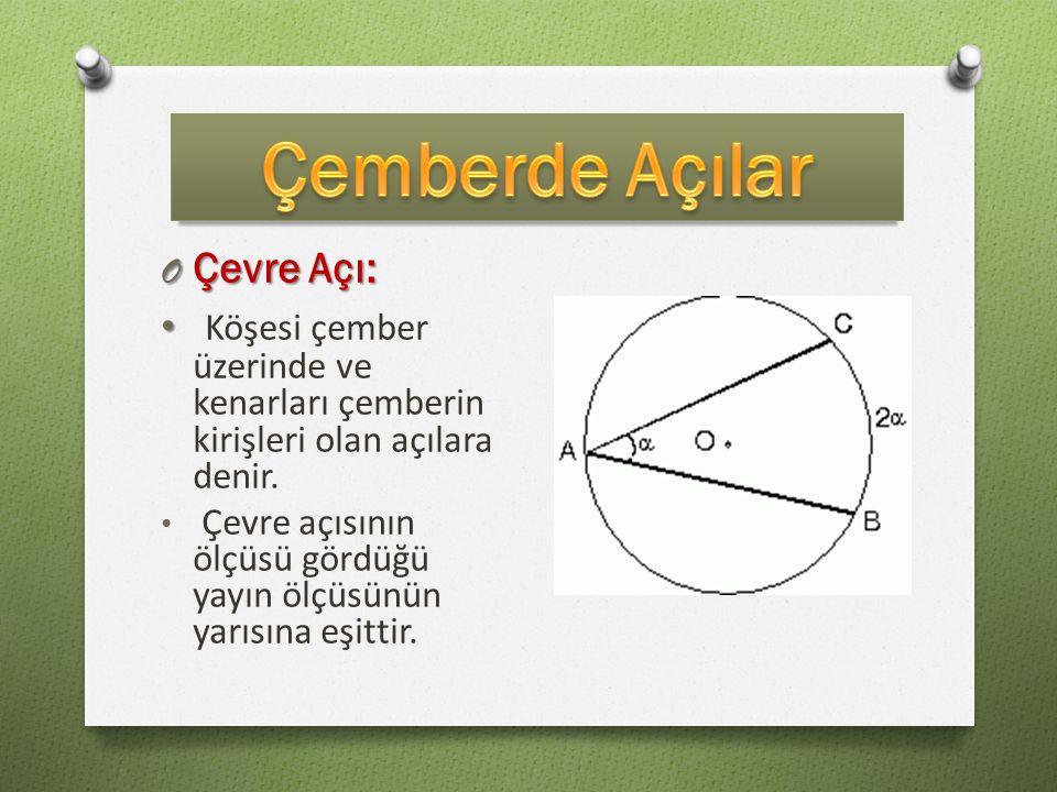 Çemberde Açılar Çevre Açı: Köşesi çember üzerinde ve kenarları çemberin kirişleri olan açılara denir.