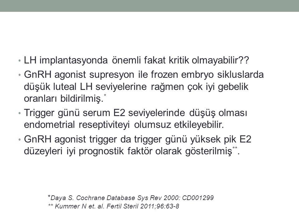 LH implantasyonda önemli fakat kritik olmayabilir