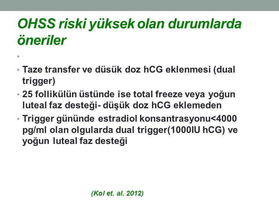 OHSS riski yüksek olan durumlarda öneriler