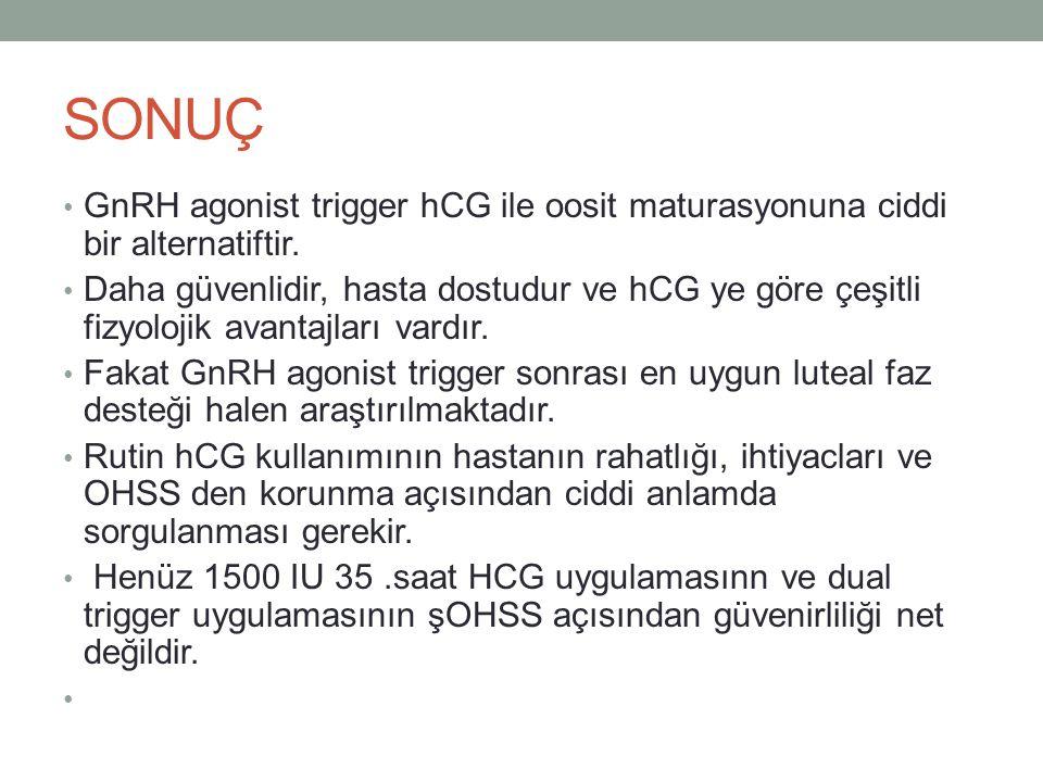 SONUÇ GnRH agonist trigger hCG ile oosit maturasyonuna ciddi bir alternatiftir.