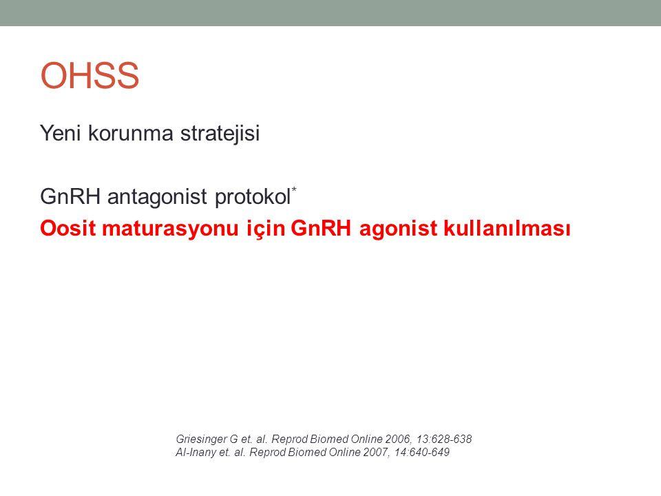 OHSS Yeni korunma stratejisi GnRH antagonist protokol* Oosit maturasyonu için GnRH agonist kullanılması