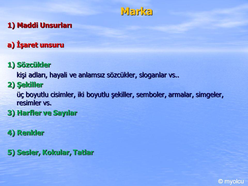 Marka 1) Maddi Unsurları a) İşaret unsuru 1) Sözcükler