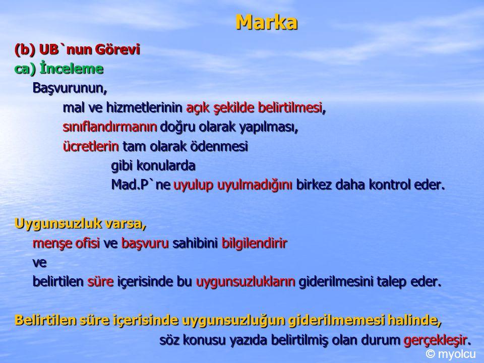 Marka (b) UB`nun Görevi ca) İnceleme Başvurunun,