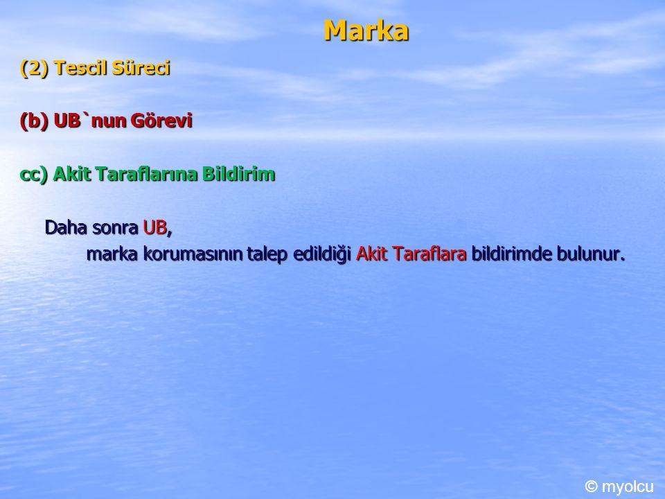 Marka (2) Tescil Süreci (b) UB`nun Görevi