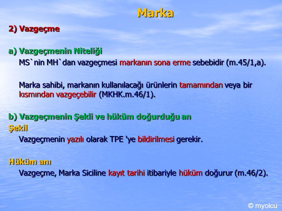 Marka 2) Vazgeçme a) Vazgeçmenin Niteliği