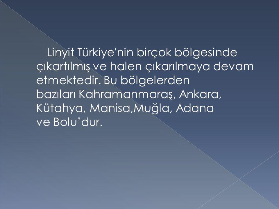 Linyit Türkiye nin birçok bölgesinde çıkartılmış ve halen çıkarılmaya devam etmektedir.
