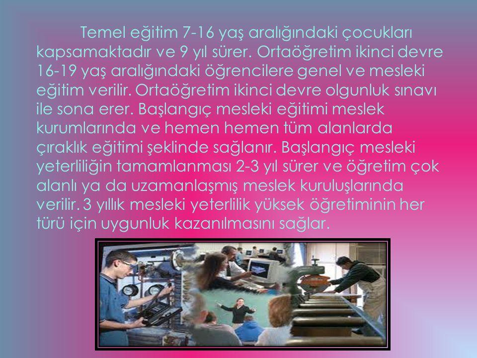 Temel eğitim 7-16 yaş aralığındaki çocukları kapsamaktadır ve 9 yıl sürer.