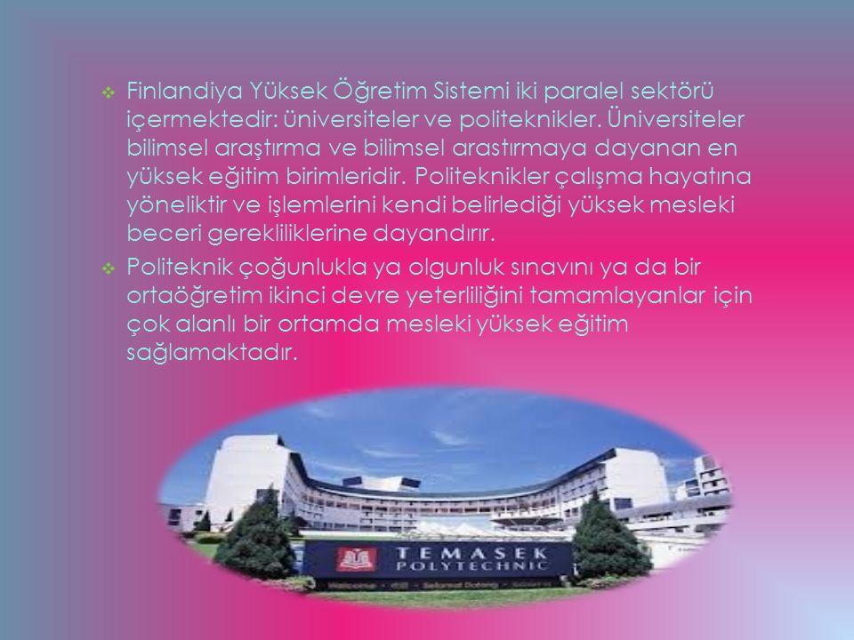 Finlandiya Yüksek Öğretim Sistemi iki paralel sektörü içermektedir: üniversiteler ve politeknikler. Üniversiteler bilimsel araştırma ve bilimsel arastırmaya dayanan en yüksek eğitim birimleridir. Politeknikler çalışma hayatına yöneliktir ve işlemlerini kendi belirlediği yüksek mesleki beceri gerekliliklerine dayandırır.