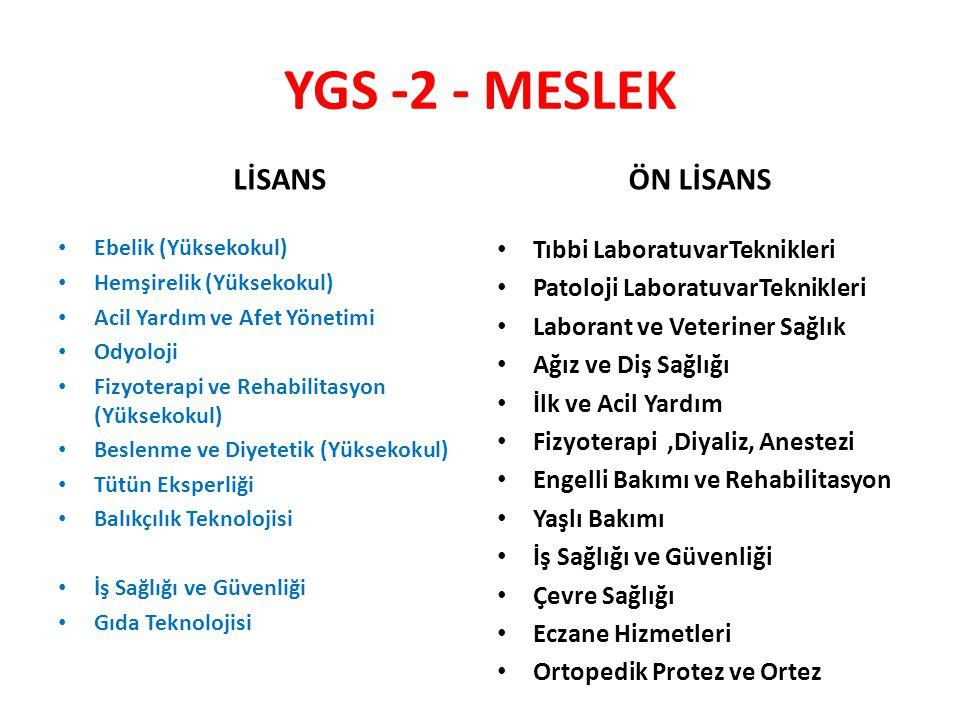 YGS -2 - MESLEK LİSANS ÖN LİSANS Tıbbi LaboratuvarTeknikleri