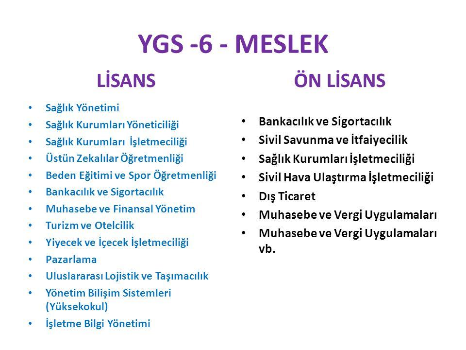 YGS -6 - MESLEK LİSANS ÖN LİSANS Bankacılık ve Sigortacılık