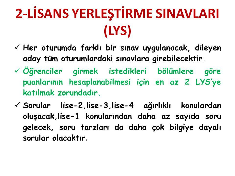 2-LİSANS YERLEŞTİRME SINAVLARI (LYS)
