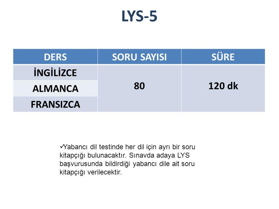 LYS-5 DERS SORU SAYISI SÜRE İNGİLİZCE 80 120 dk ALMANCA FRANSIZCA