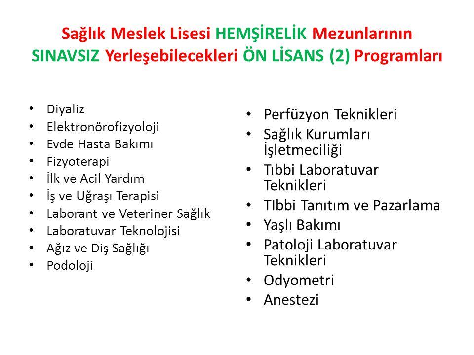 Sağlık Meslek Lisesi HEMŞİRELİK Mezunlarının SINAVSIZ Yerleşebilecekleri ÖN LİSANS (2) Programları
