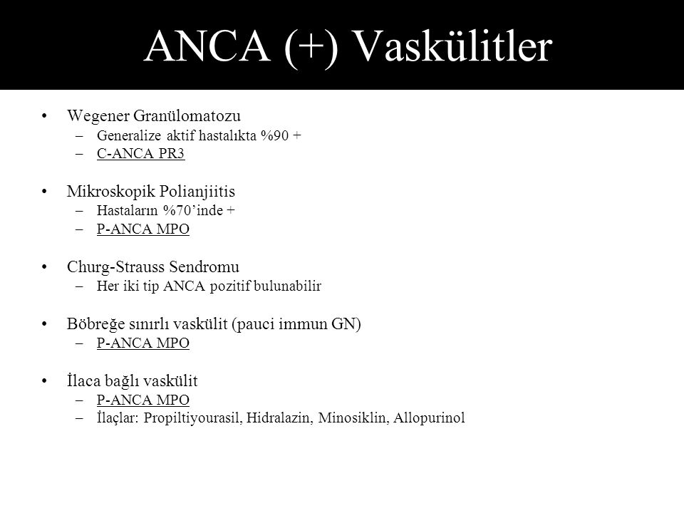 ANCA (+) Vaskülitler Wegener Granülomatozu Mikroskopik Polianjiitis
