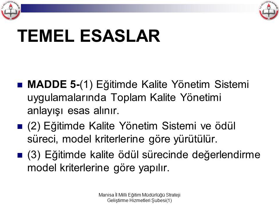 TEMEL ESASLAR MADDE 5-(1) Eğitimde Kalite Yönetim Sistemi uygulamalarında Toplam Kalite Yönetimi anlayışı esas alınır.
