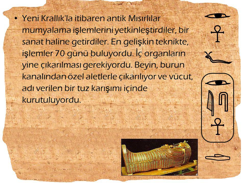 Yeni Krallık la itibaren antik Mısırlılar mumyalama işlemlerini yetkinleştirdiler, bir sanat haline getirdiler.