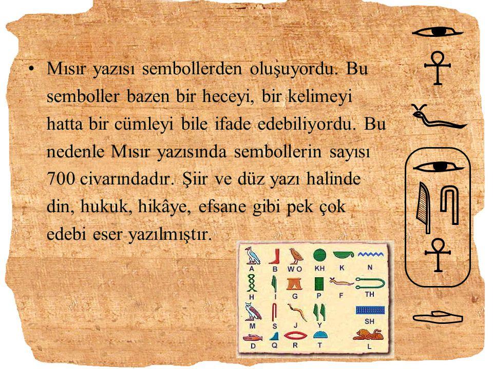 Mısır yazısı sembollerden oluşuyordu