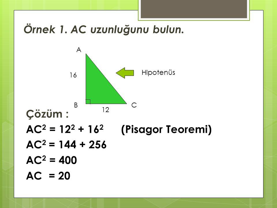 Örnek 1. AC uzunluğunu bulun.