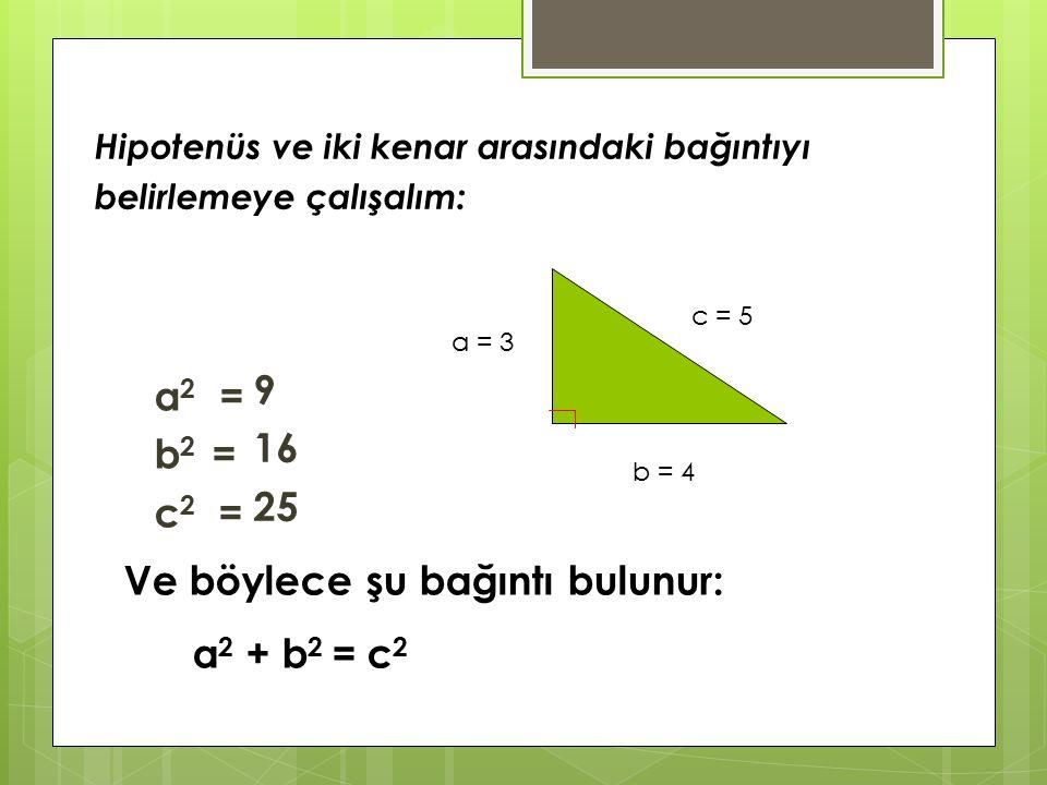 Ve böylece şu bağıntı bulunur: a2 + b2 = c2
