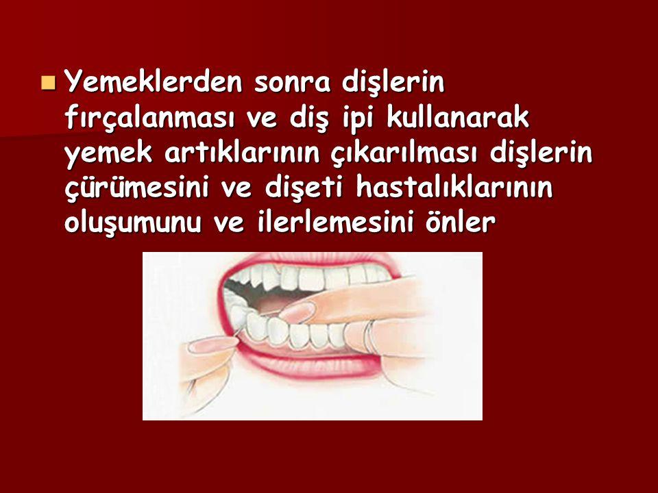 Yemeklerden sonra dişlerin fırçalanması ve diş ipi kullanarak yemek artıklarının çıkarılması dişlerin çürümesini ve dişeti hastalıklarının oluşumunu ve ilerlemesini önler