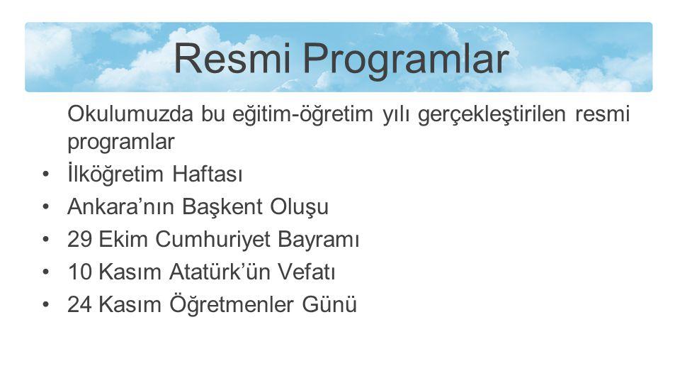 Resmi Programlar Okulumuzda bu eğitim-öğretim yılı gerçekleştirilen resmi programlar. İlköğretim Haftası.