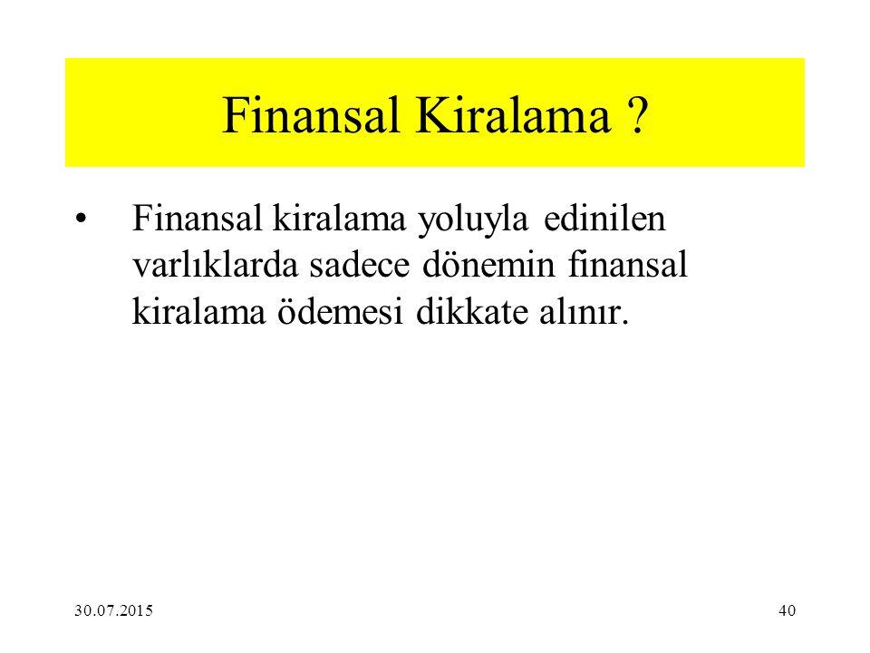 Finansal Kiralama Finansal kiralama yoluyla edinilen varlıklarda sadece dönemin finansal kiralama ödemesi dikkate alınır.