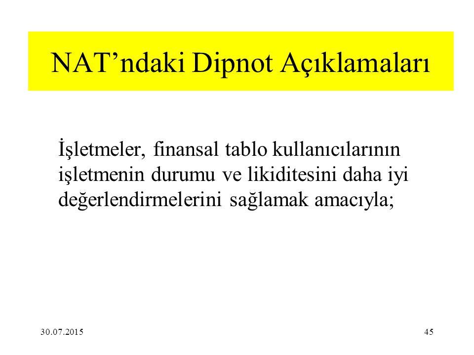 NAT'ndaki Dipnot Açıklamaları