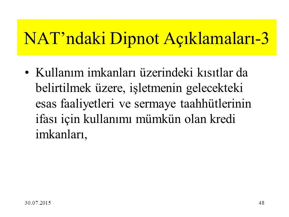 NAT'ndaki Dipnot Açıklamaları-3